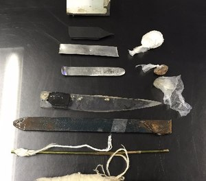 This March 5, 2015 photo provided by the New York City Department of Correction shows homemade weapons confiscated from Rikers Island jails in New York during sweeps on March 3 and March 4. (New York City Department of Correction via AP)