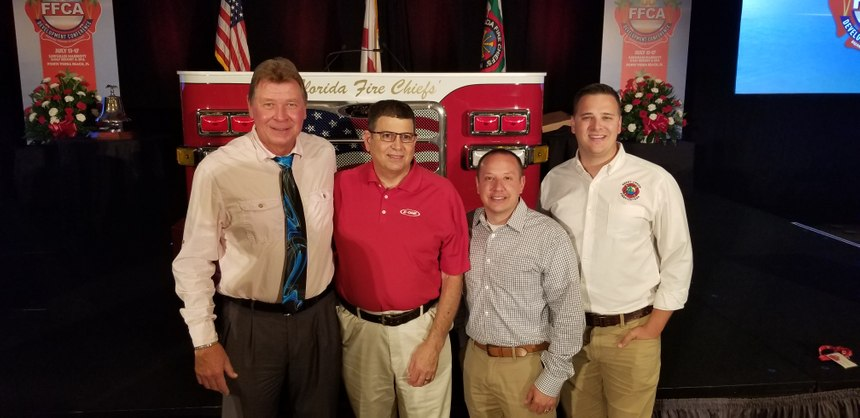 Left to right: Firefighter-EMT Rick Spence, Fire Chief Richard Lepere, Deputy Chief Eric Ferrari, Firefighter-paramedic Aaron Colburn. (Photo/Courtesy of Rick Spence)