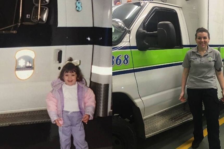 """Megan Franzoso (pictured here as a child and an adult) is described as someone """"destined to help her community"""" by a GoFundMe page set up to help cover her hospital bills."""