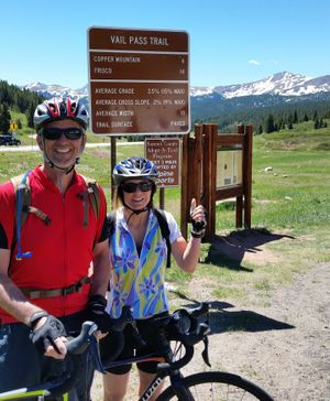 Don and Kris Soltis bike up Vail Pass, a 10,662-foot-high mountain pass in the Rocky Mountains of central Colorado, not too long after his stroke. (image/ Don Soltis)
