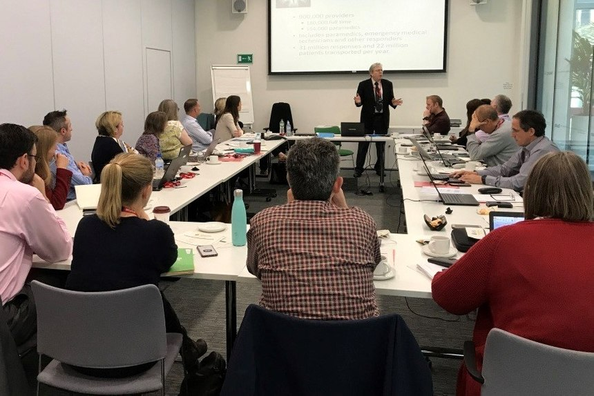 Professor Brian Maguire presenting to UK Association of Ambulance Chief Executives in London. (Photo/Courtesy of Brian Maguire)