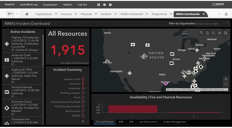 The NMAS Incident Command Dashboard shows resource locations. (Photo/NMAS)