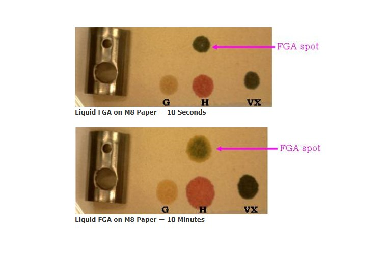 Upon an M8 paper's exposure to a liquid, a yellow/green or green/blue color is indicative of an FGA. (Photo/CHEMM)