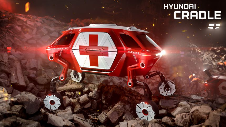 """""""Elevate"""" is the first Ultimate Mobility Vehicle (UMV) with moveable legs designed to help first responders. (Photo/Hyundai)"""