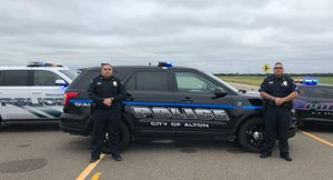 One short-term goal for the Alton Police Department was to re-brand the agency via new vehicle decals, new uniforms and new patches. (Photo/Chief Flores)