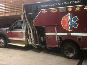 Kootenai County EMS System ambulance after collision