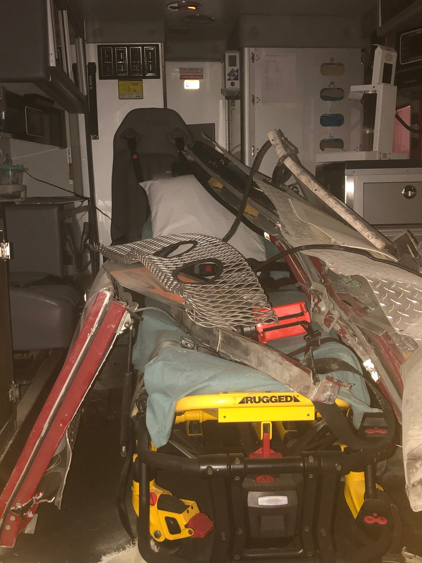 Interior of KCEMSS ambulance after collision