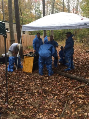 Suiting up for the grave excavation exercise at the body farm.(Photo/Joseph Jaynes)