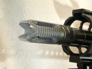 The Ghost Flash Hider by RF does a great job mitigating recoil. (Photo/Sean Curtis)