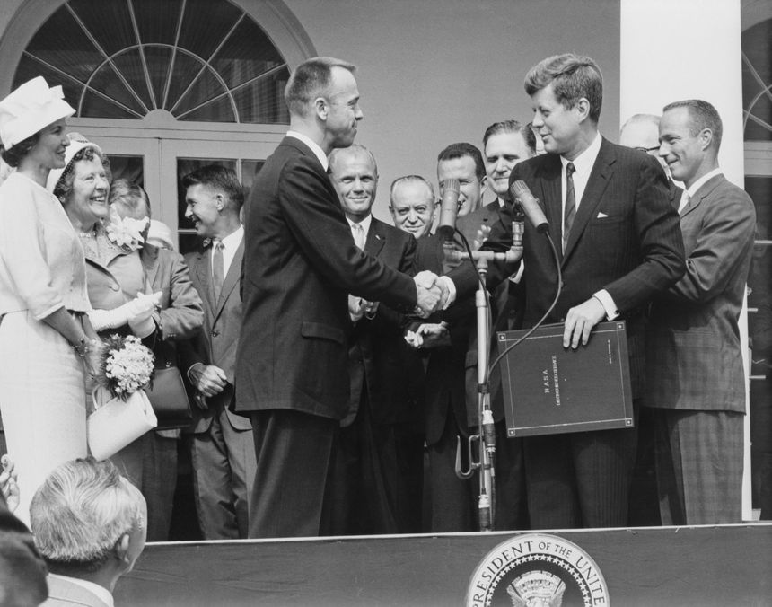 John F. Kennedy awards Alan B. Shepard, Jr. the first American in space, the NASA Distinguished Service Award on May 8, 1961. (Photo/NASA)
