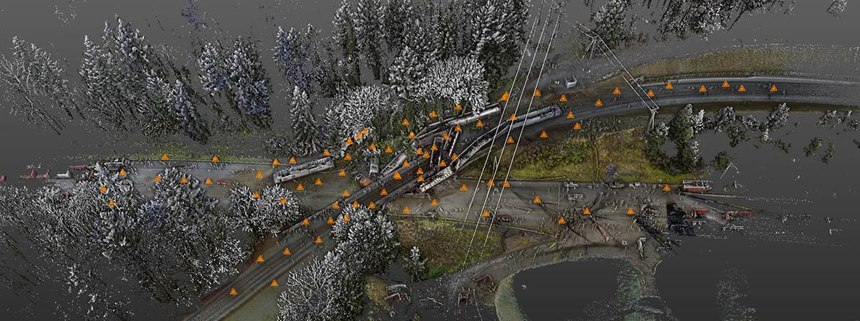 Detective Eric Gunderson integrated scanning data and UAV photos to create a 3D point cloud of the incident scene. In this view, orange markers indicate the location of each of the 82 set ups taken with the Trimble TX5. (Photo/WSP)
