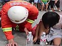 Firefighters rescue girl stuck in drain cover