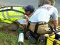 Firefighters rescue man stuck in 7-foot hole