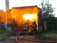 Firefighters participate in dangerous flashover training