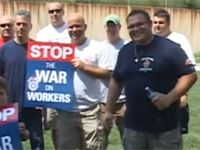 Firefighters protest after layoffs, ambulance service takeover