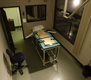 In this Nov. 20, 2008, file photo, the execution chamber at the Washington State Penitentiary is shown with the witness gallery behind glass at right, in Walla Walla, Wash. (AP Photo/Ted S. Warren, File)