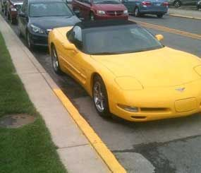 A photo sent to the Pharos Tribune shows Logansport Mayor Ted Franklin's car protruding into a no-parking zone.